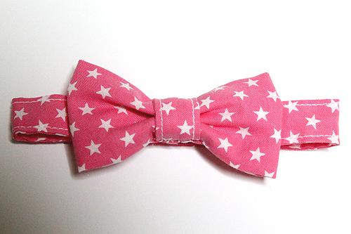 猫のおしゃれリボン「スター柄」ピンク