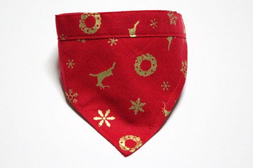 おしゃれバンダナ首輪 Merry Christmasレッド