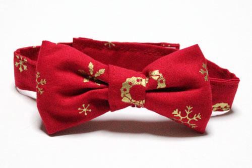 おしゃれリボン首輪、Merry Christmasレッド