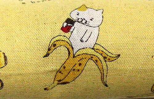 またたび入り手作りキッカーバナナ猫柄拡大、イエロー
