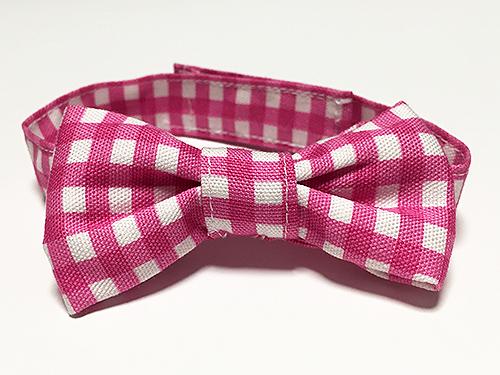 おしゃれリボン首輪「カラフルチェック5」ピンク
