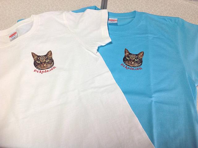 ネコと動物愛護・猫堂応援オリジナルTシャツ、ちゃあ店長