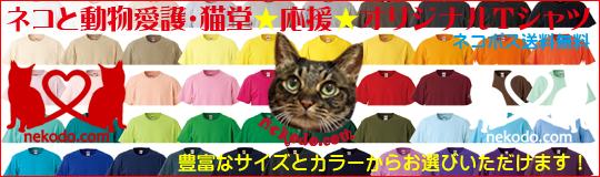 ネコと動物愛護・猫堂応援オリジナルTシャツ発売中